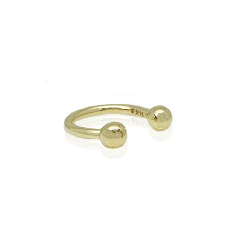 עגיל זהב לבן פרסה כדורי| עגיל זהב פירסינג קטן