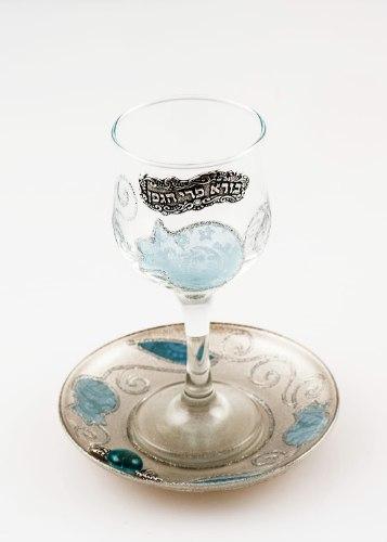 גביע קידוש זכוכית דגם רימונים