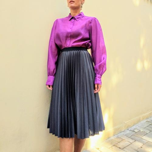 חצאית פליסה אפורה