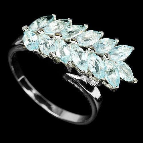 טבעת כסף משובצת אבני טופז כחולה RG5632 | תכשיטי כסף 925 | טבעות כסף