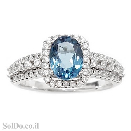 טבעת מכסף משובצת אבן טופז כחולה  וזרקונים RG5983 | תכשיטי כסף 925 | טבעות כסף