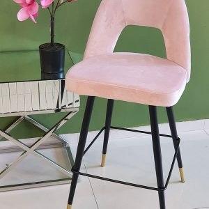 כסא בר קטיפה רגליים בשילוב זהב