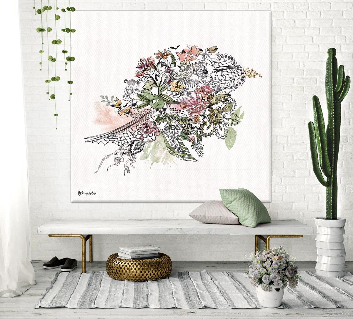 ציור דקורטיבי של ציפור בצבעים ורוד ןירוק