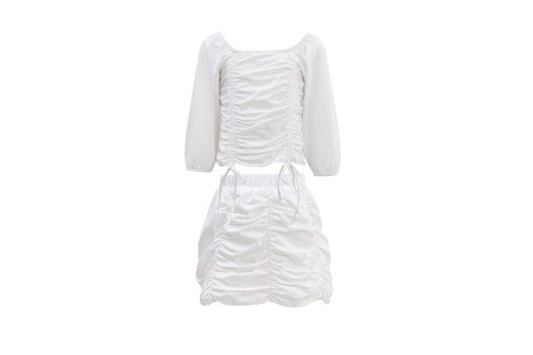 חליפת חצאית כיווצים לבנה VIEW - בנות 2-16