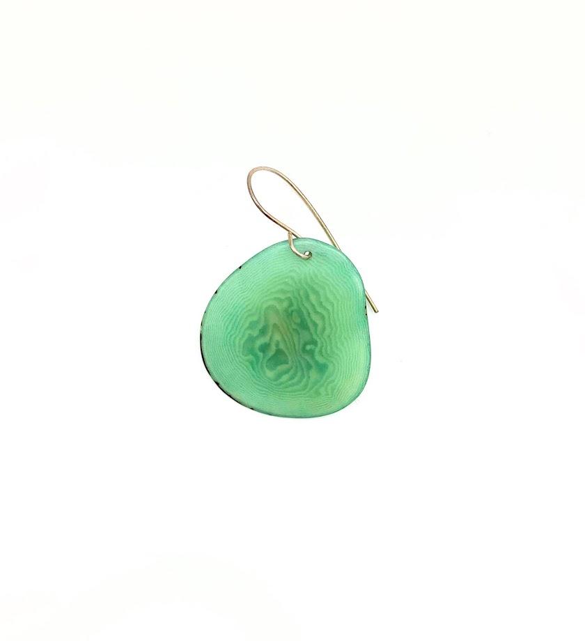 עגילי פרוסה גווני כחול-ירוק