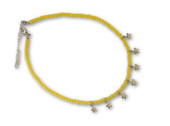 שרשרת חרוזים צהובים משולבת תליוני כוכבים כסף
