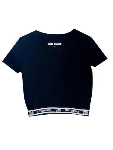 חולצת בטן שחורה גומי SM