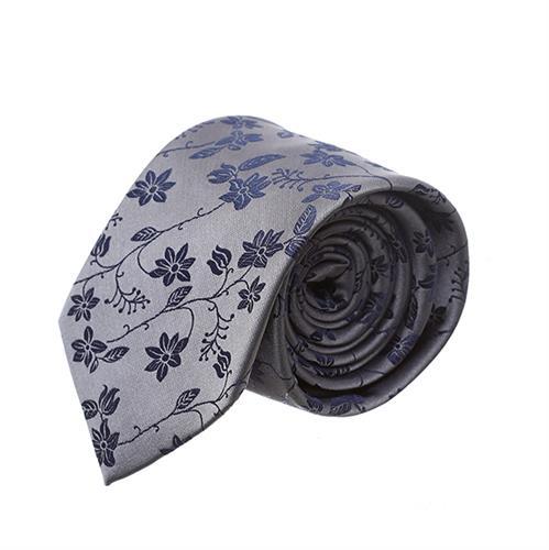 עניבה פרחים שחורים על רקע אפור