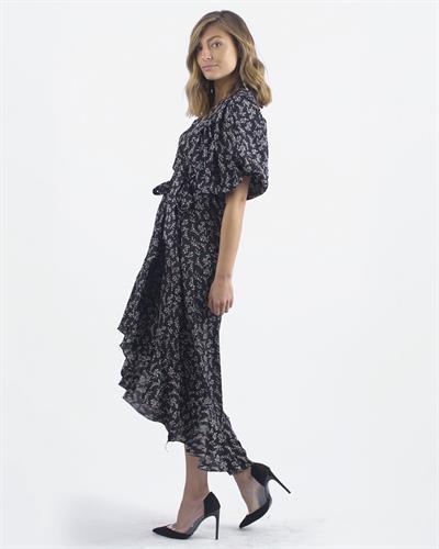 שמלת ג׳ו מעטפת - פרינט שחור