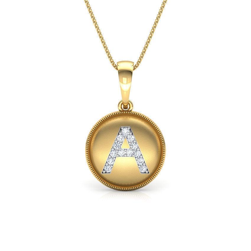 שרשרת אות A שרשרת זהב עם אות A משובצת יהלומים