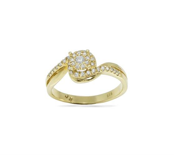 טבעת זהב 14K משובצת יהלומים 0.38 קראט