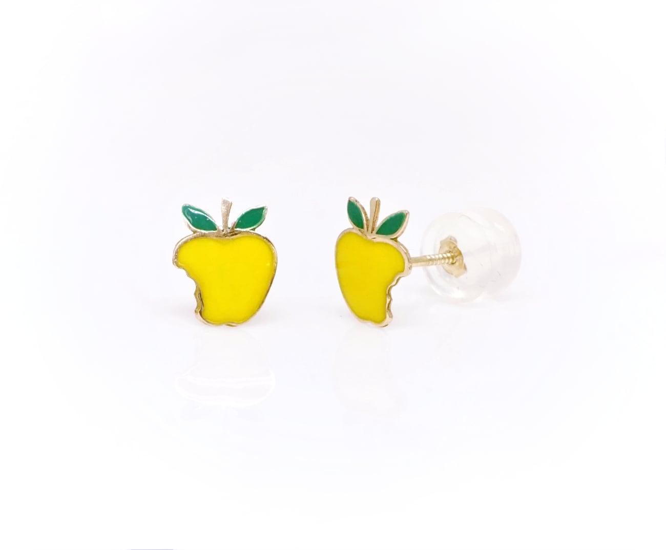 עגילי זהב לילדות- תפוח עץ אגסי