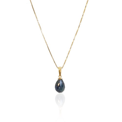 שרשרת זהב עם אבן ספיר טיפה