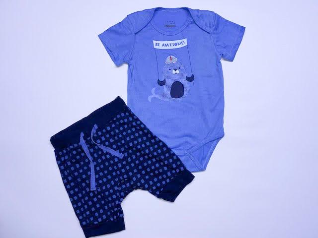 חליפת בגד גוף בצבע כחול