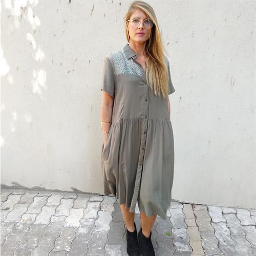 שמלת ספארק זית שרוול קצר