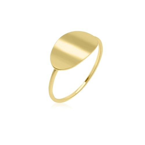טבעת זהב עדינה חריטה
