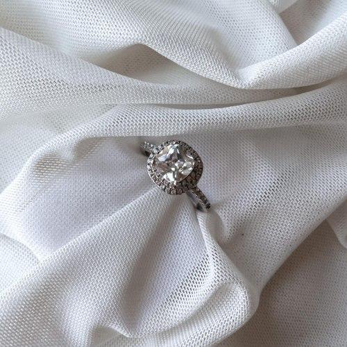 טבעת מרובע דמוי יהלום- כסף 925