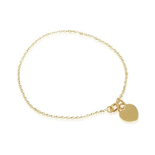 צמיד זהב עם פלטה לב
