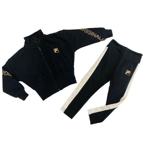 חליפת טייץ עליונית שחורה וטייץ שחור FILA - מידות 2-8 שנים
