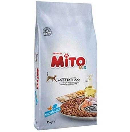 "Mito מזון לחתולים מיטו 15 ק""ג עוף ודגים"