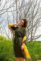 שמלת חרדל ירוק זית