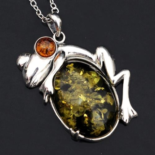 תליון כסף צפרדע משובץ ענבר ירוק T8455