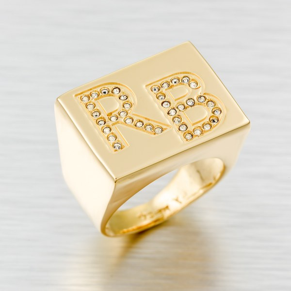 טבעת שם בעיצוב אישי גולדפילד 18 קראט משובצת זרקונים