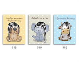 סט של 3 תמונות השראה מעוצבות לתינוקות, לסלון, חדר שינה, מטבח, ילדים - תמונות השראה חיות מנוקדות