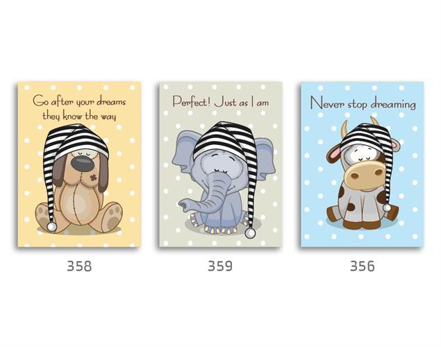 סט של 3 תמונות השראה לחדר ילדים תינוקות חיות מנוקדות פיל, פרה, כלב דגם 123