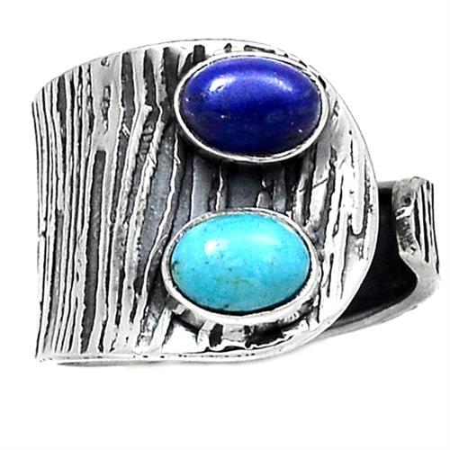 טבעת כסף משובצת אבני טורקיז ולפיס לזולי RG5732 | תכשיטי כסף 925 | טבעות כסף