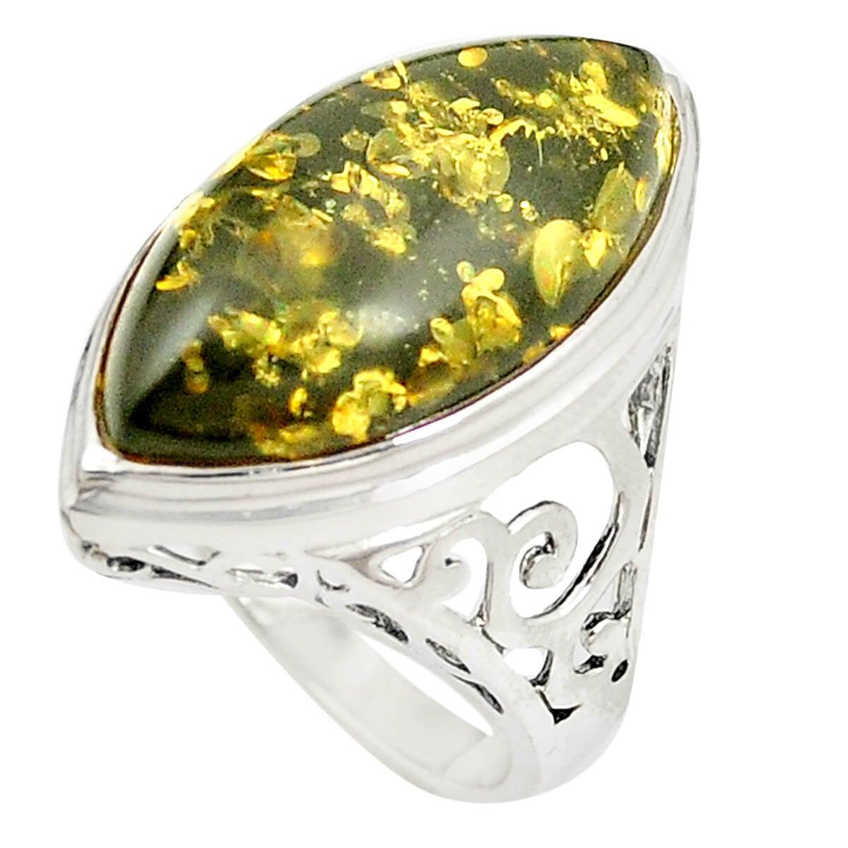 טבעת כסף משובצת ענבר ירוק RG5887 | תכשיטי כסף 925 | טבעות כסף