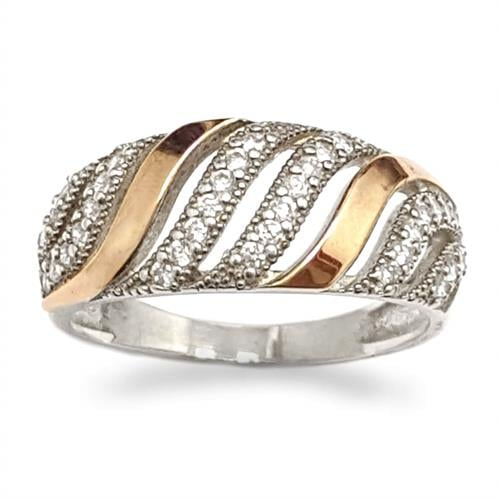 טבעת כסף מצופה זהב 9K משובצת אבני זרקון  RG8533 | תכשיטי כסף | טבעות כסף