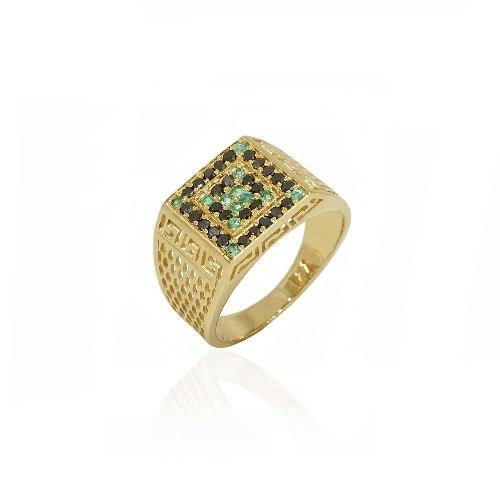 טבעת זהב לגבר יהלומים שחורים ואמרלדים