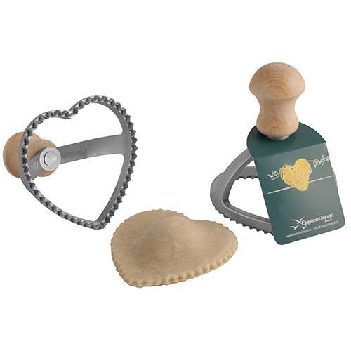 חותמת בצק ידית עץ בצורת לב קטן