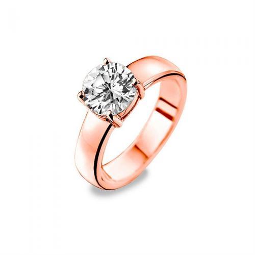 טבעת כסף טהור סטרלינג 925 שיבוץ מרכזי וציפוי רוזגולד