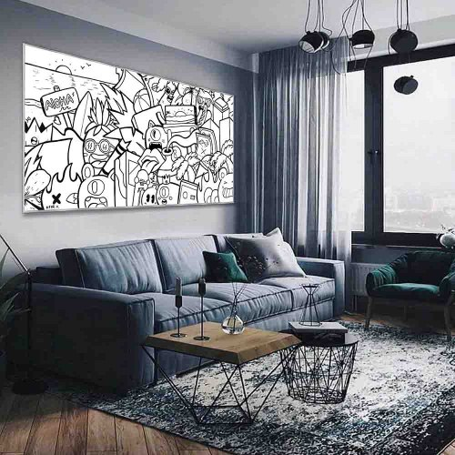 ציור גרפיטי שחור לבן של האמן כפיר תג'ר
