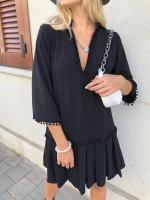 שמלת סאטן פונפונים