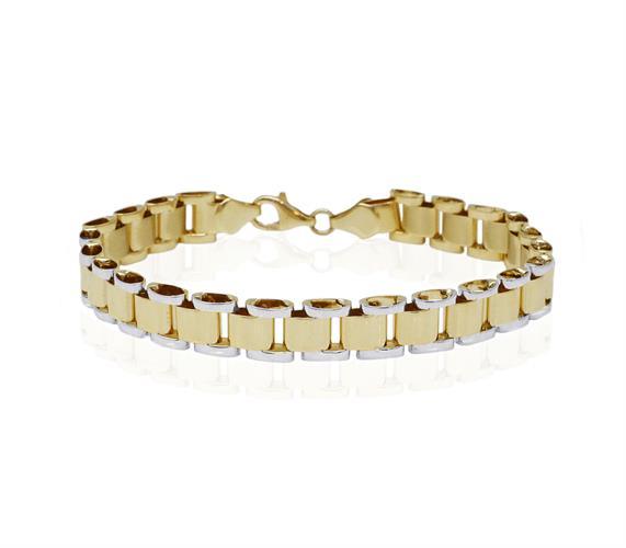 צמיד חוליות איטלקי מזהב לגבר │צמיד זהב מעוצב לגבר