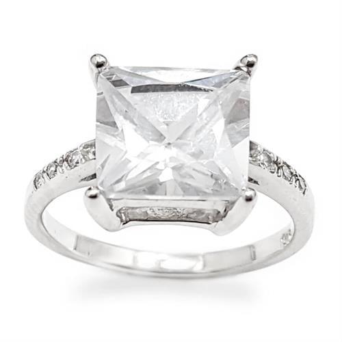 טבעת כסף מעוצבת אבן קריסטל בצורת ריבוע ומשובצת אבני זרקון  RG5956