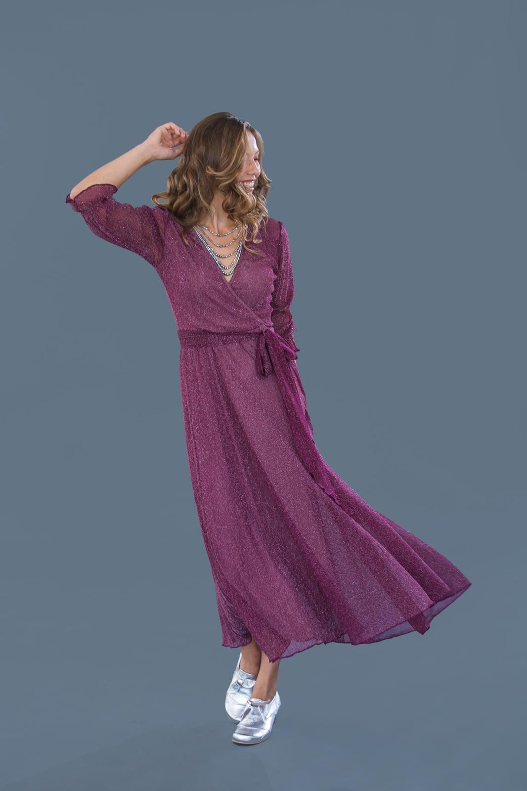 שמלת ערב מקסי סגולה