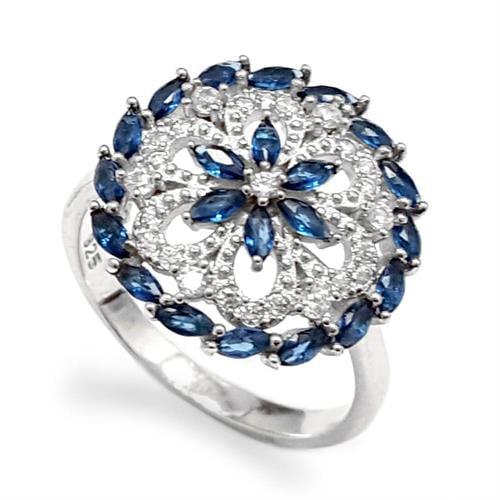 טבעת כסף משובצת אבני זרקון כחולות RG1545 | תכשיטי כסף 925 | טבעות כסף