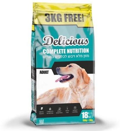 """אוכל לכלבים דלישס פרימיום 18 ק""""ג"""