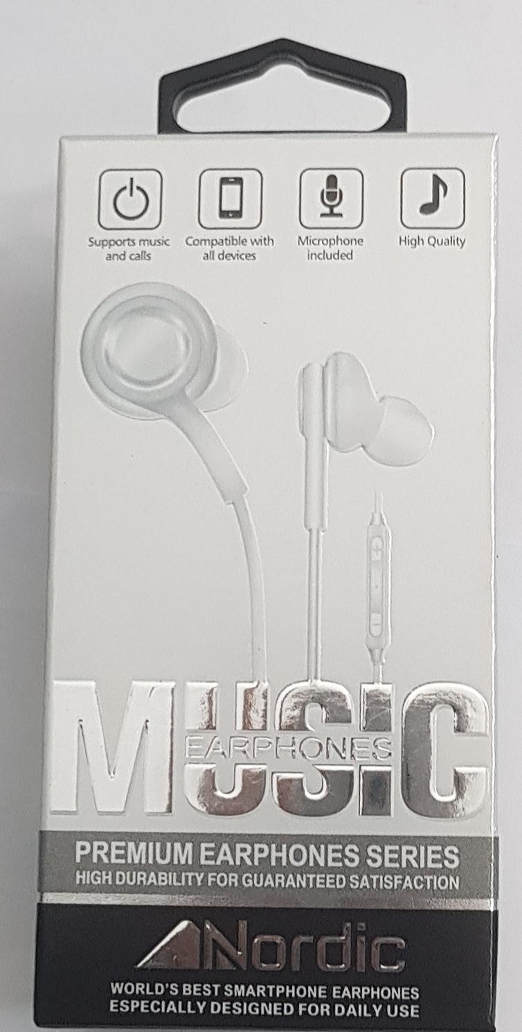 אוזניות חוט לגלקסי/אייפון של חברת Nordic עם שליטה על ווליום ומקרופון בצבע לבן