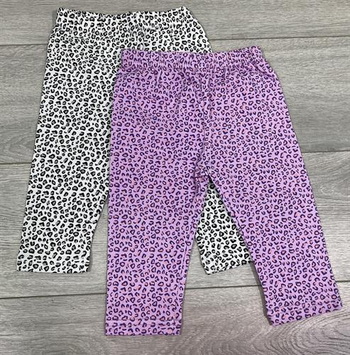 זוג מכנסי לייקרה ארוך מנומר לבן וסגול