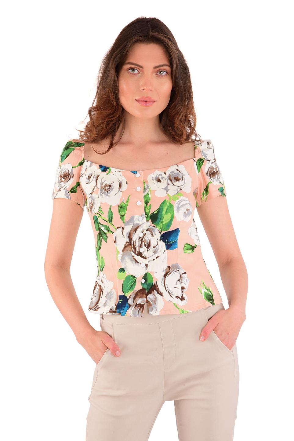 חולצה ניקי פרחים לבנים