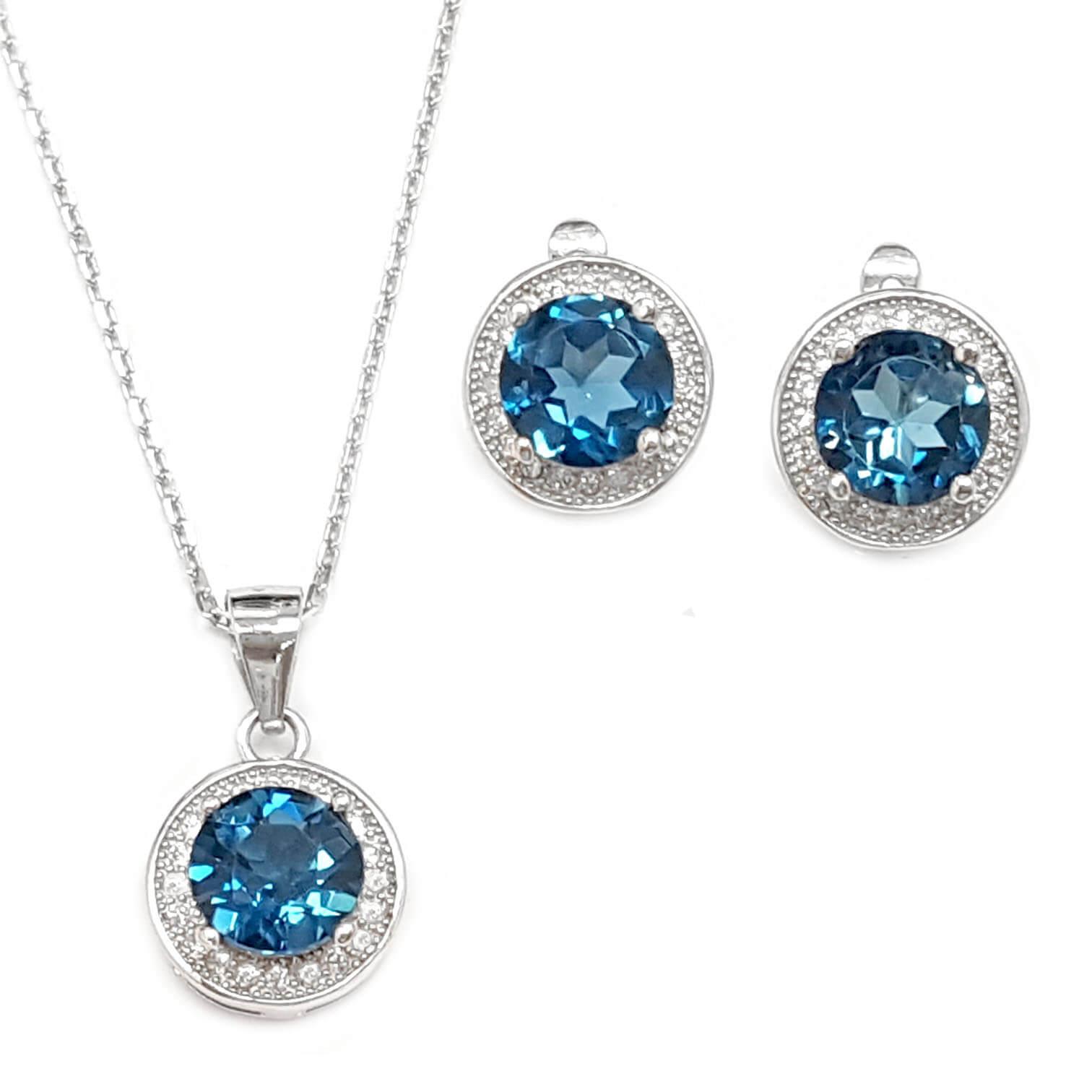 עגילים ותליון מכסף משובצים אבני טופז כחולה וזרקונים S1565