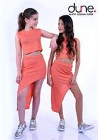 סט חצאית א-סימטרי וחולצת בטן