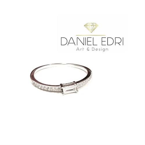 טבעת מלבן משובצת- כסף