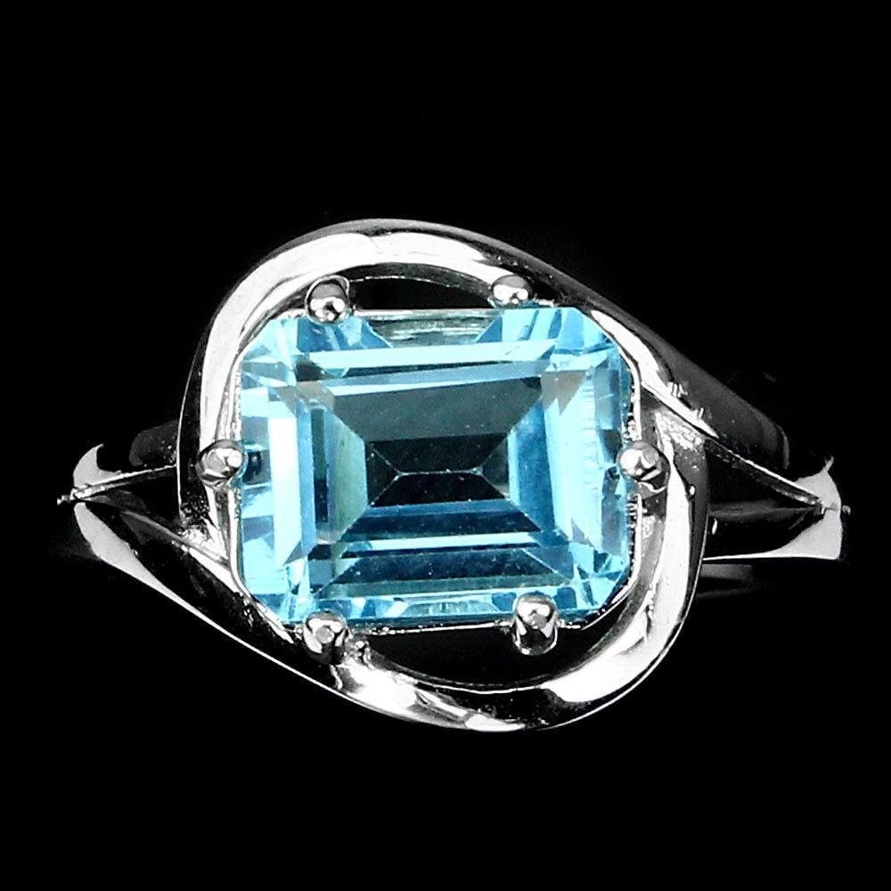 טבעת כסף משובצת טופז כחול RG5546   תכשיטי כסף 925   טבעות כסף