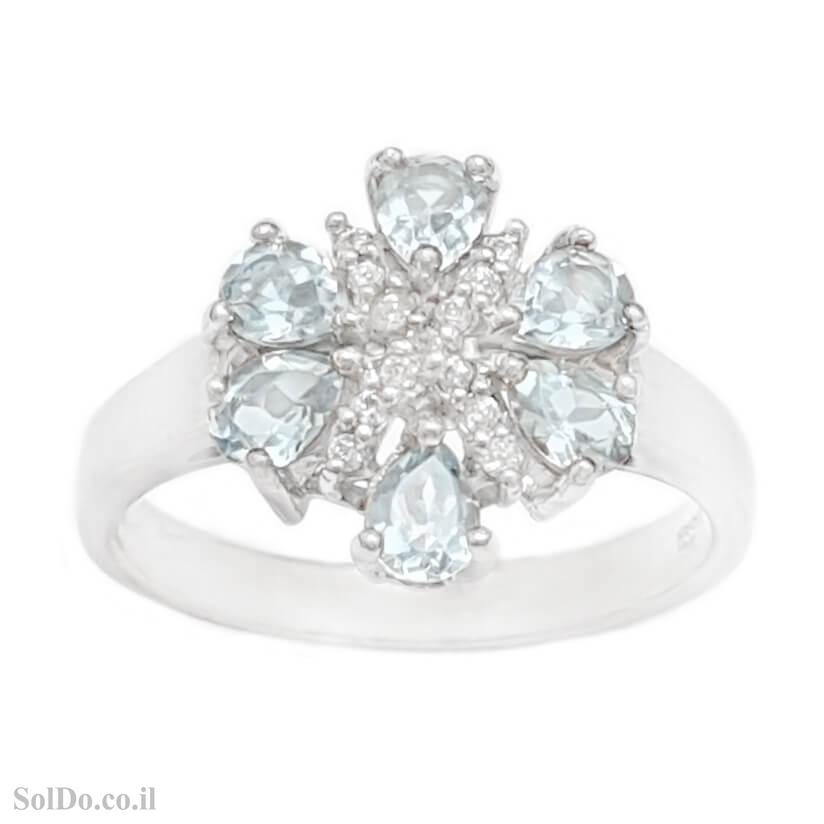 טבעת מכסף משובצת אבני טופז כחולה וזרקונים RG6138 | תכשיטי כסף 925 | טבעות כסף